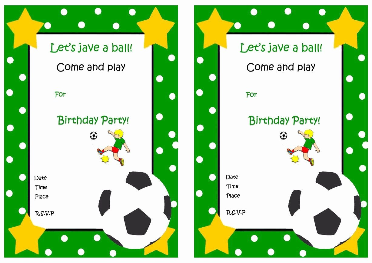 Football Invitation Template Free Beautiful soccer Free Printable Birthday Party Invitations