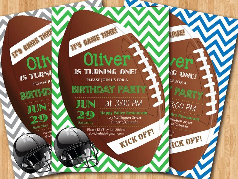 Football Invitation Template Free Best Of Football Birthday Invitation Boy 1st First Birthday Party