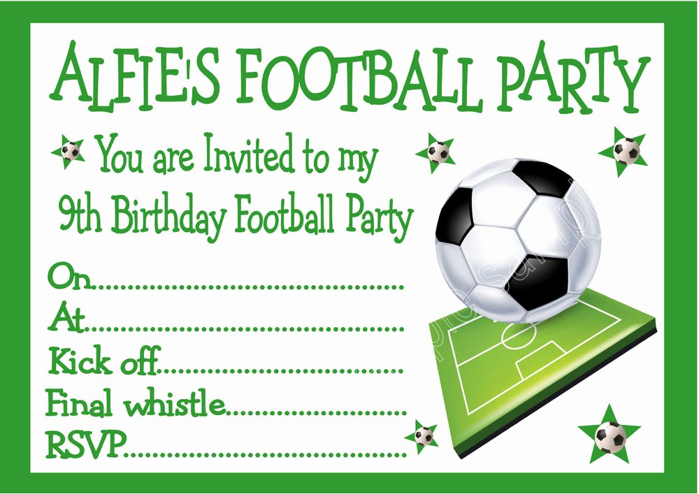 Football Invitation Template Free Elegant Personalised Invites Childrens Boys Football Birthday