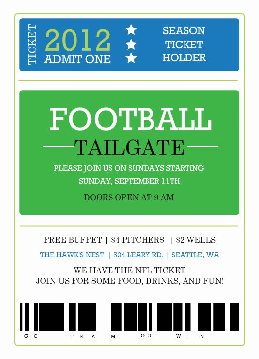 Football Invitation Template Free Lovely 6 Best Of Sports Ticket Templates Free Printable