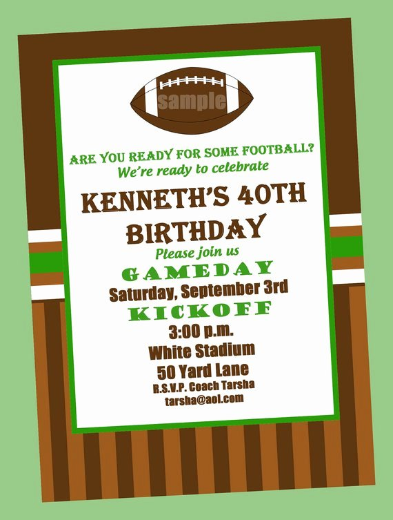 Football Invitation Template Free New Football Birthday Party Invitation Printable or Printed with