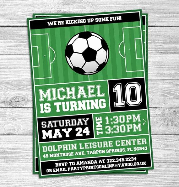 Football Invitation Template Free Unique soccer Football Birthday Party Invitations for Kids Party