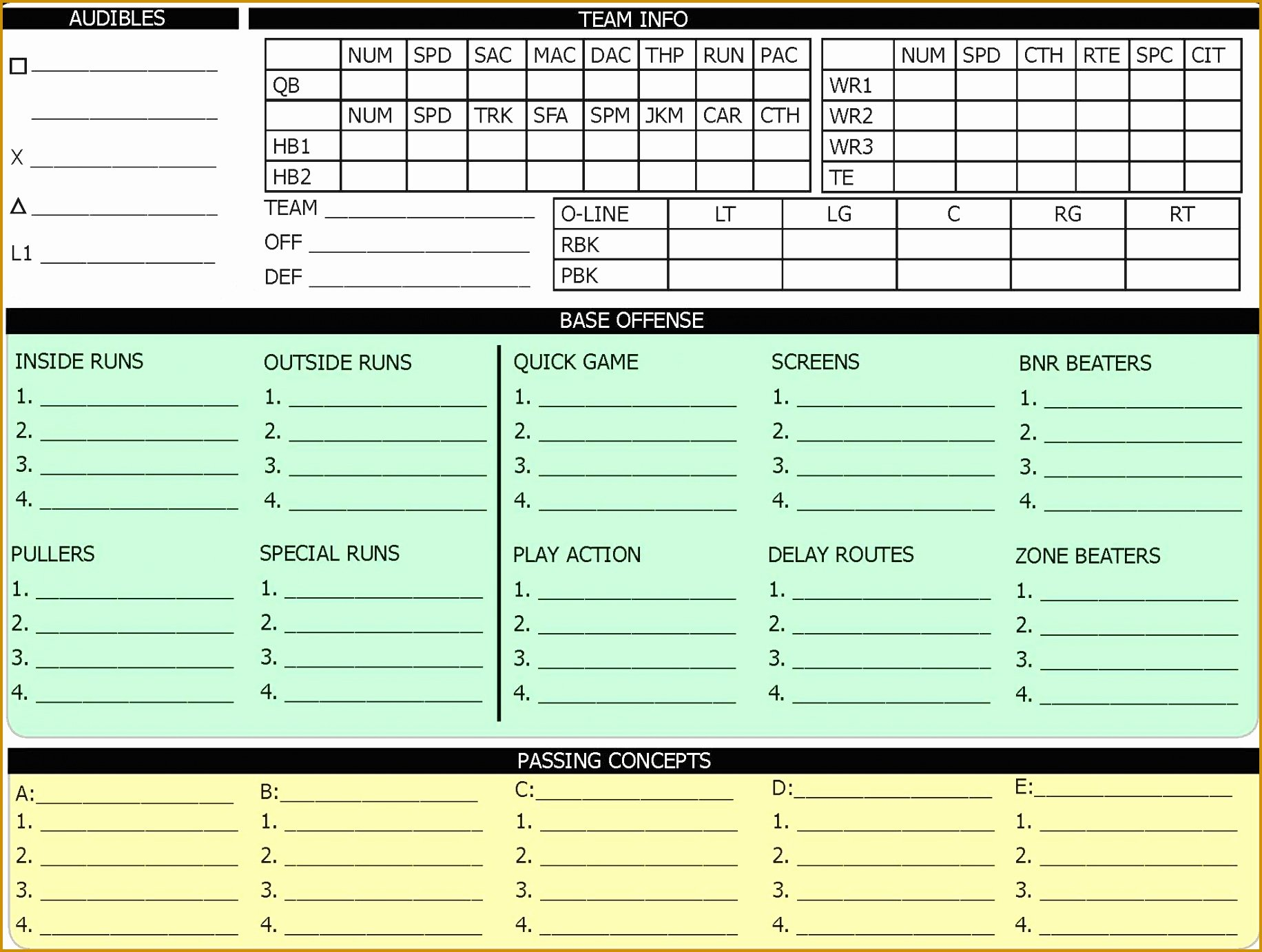 Football Offensive formations Template Awesome 5 Fensive Call Sheet Template