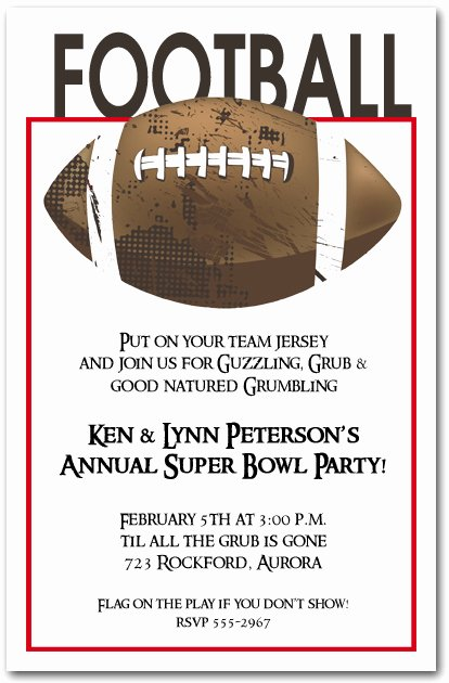 Football Party Invitation Template Awesome Football Grunge Super Bowl Party Invitations