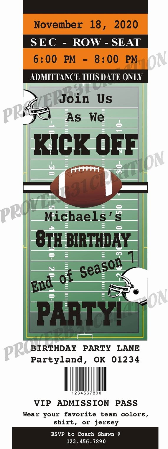 Football Party Invitation Template Awesome Printable Football Ticket Invitation Diy for by