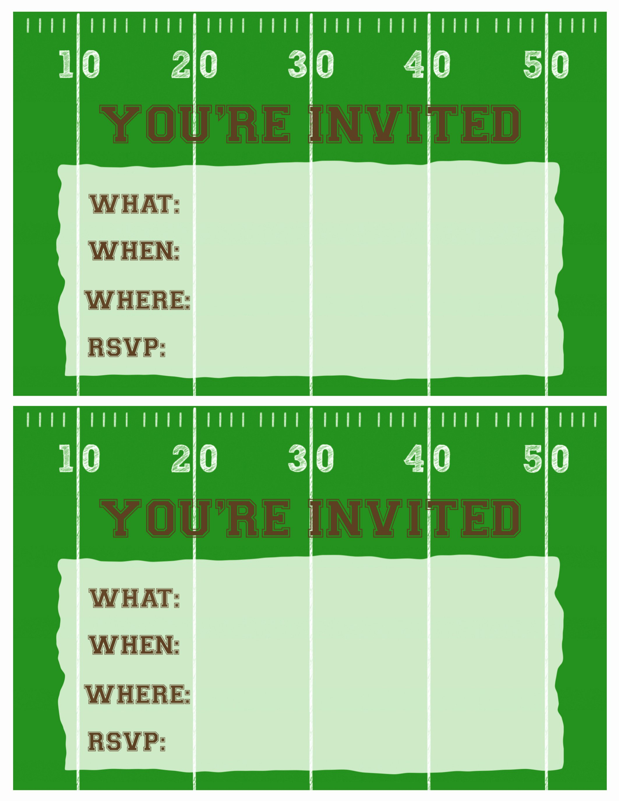 Football Party Invitation Template Elegant Football Party Invitation Template Free Printable