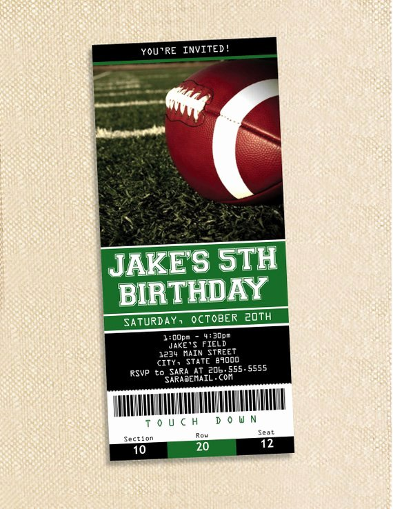 Football Party Invitation Template Elegant Football Ticket Birthday Invitations Set Of 35