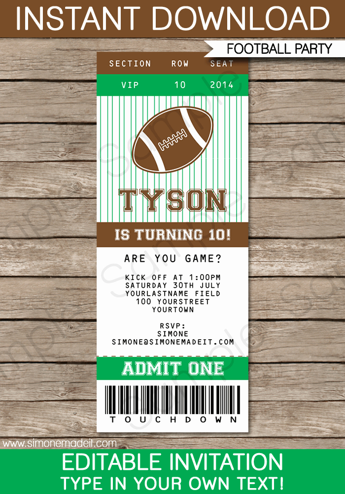 Football Party Invitation Template Lovely Football Ticket Invitation Template