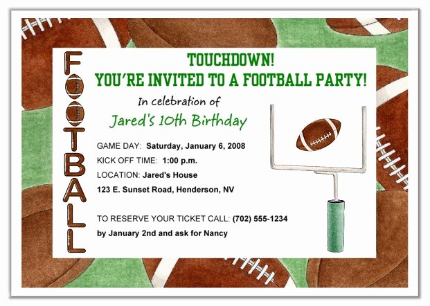 Football Party Invitation Template Luxury Party Invitation Templates Football Birthday Party