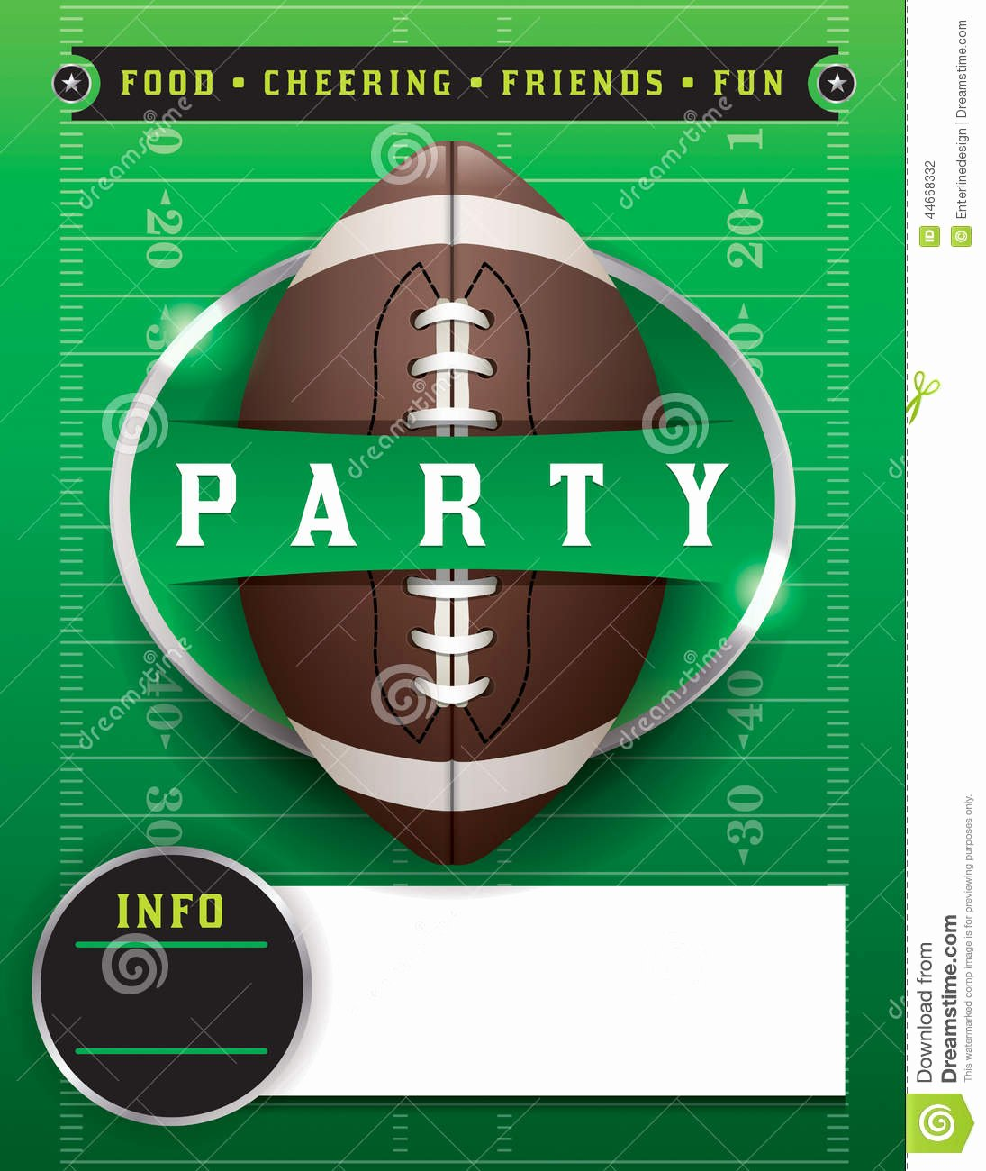 Football Party Invitation Template New American Football Party Template Illustration Stock Vector