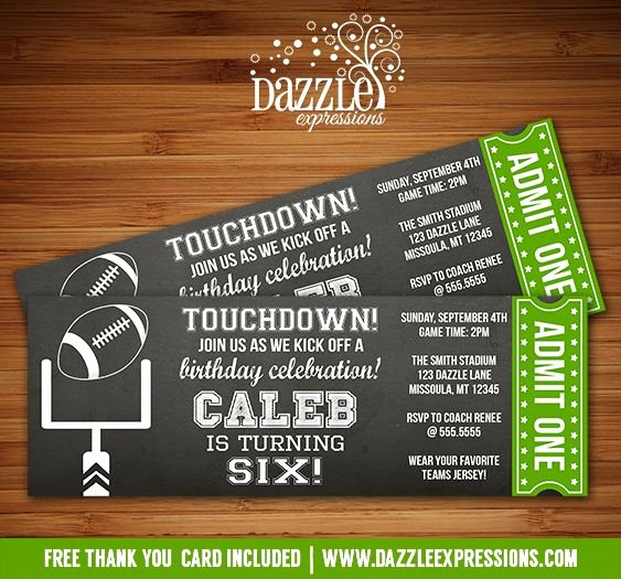 Football Party Invitation Template New Best 25 Football Ticket Ideas On Pinterest