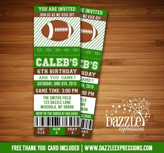 Football Party Invitation Template New Printable Football Ticket Birthday Invitation