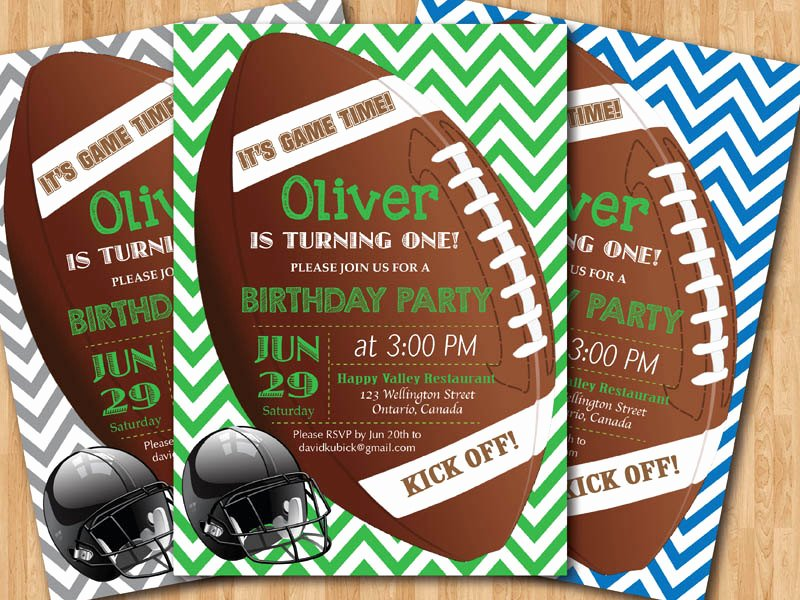 Football Party Invitation Template Unique Football Birthday Invitation Boy 1st First Birthday Party