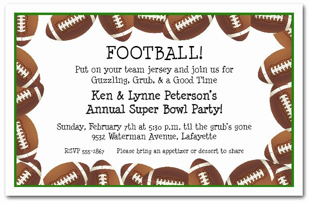 Football Party Invitation Template Unique Football Border Super Bowl Party Invitations