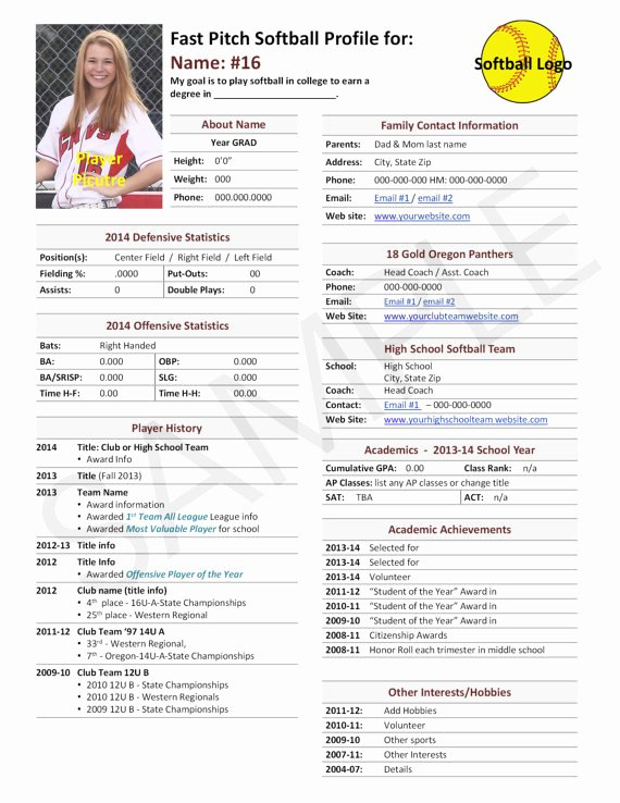 Football Player Profile Template Awesome Fast Pitch softball Player Profile Template Used for