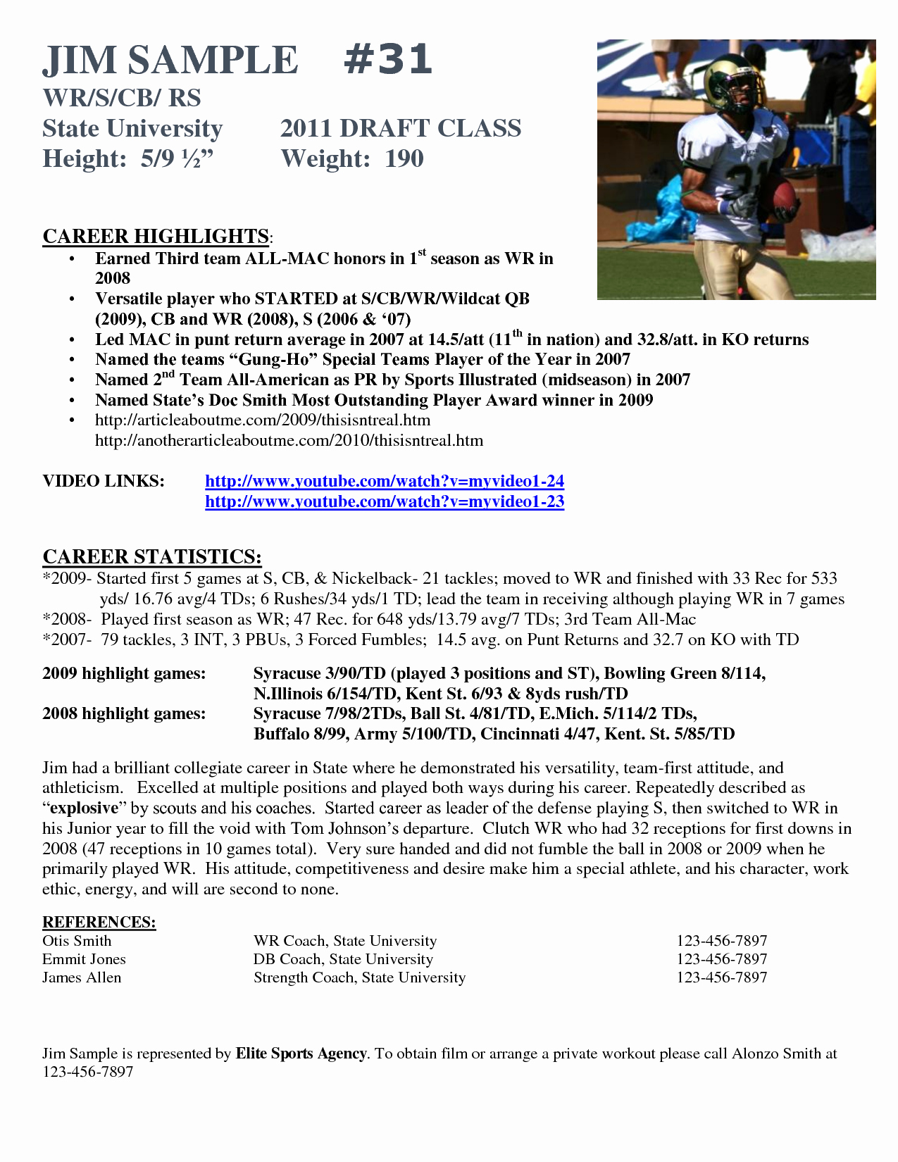 Football Player Profile Template Inspirational Best S Of athlete Bio Template Football Player