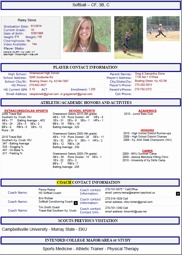 Football Player Profile Template Lovely athletic Resume Template Free Resume format Templates