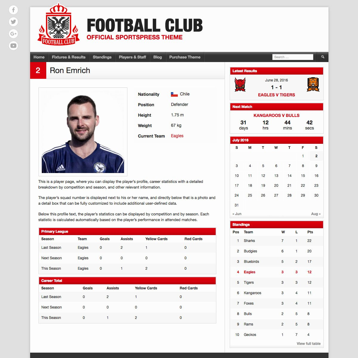 Football Player Profile Template Luxury Football Club soccer Team Wordpress theme themeboy