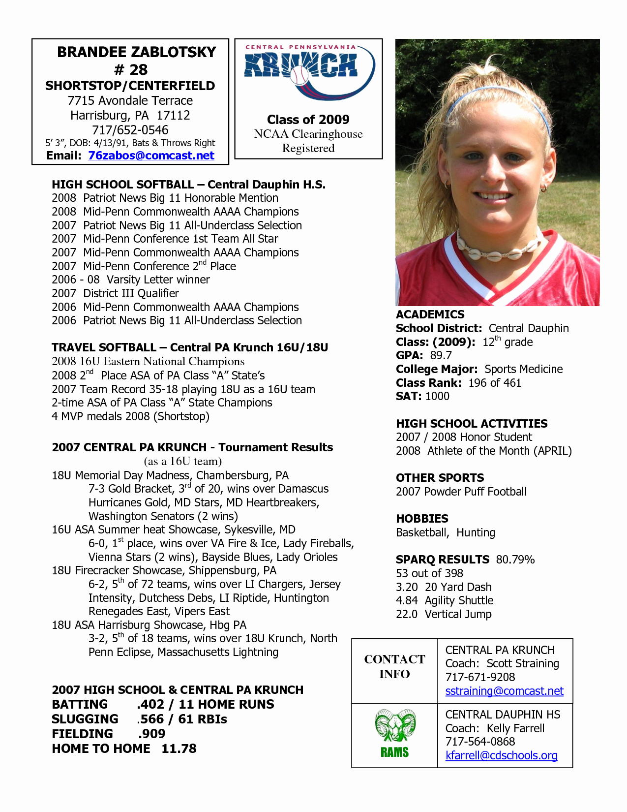 Football Player Profile Template Luxury softball Profile Sample