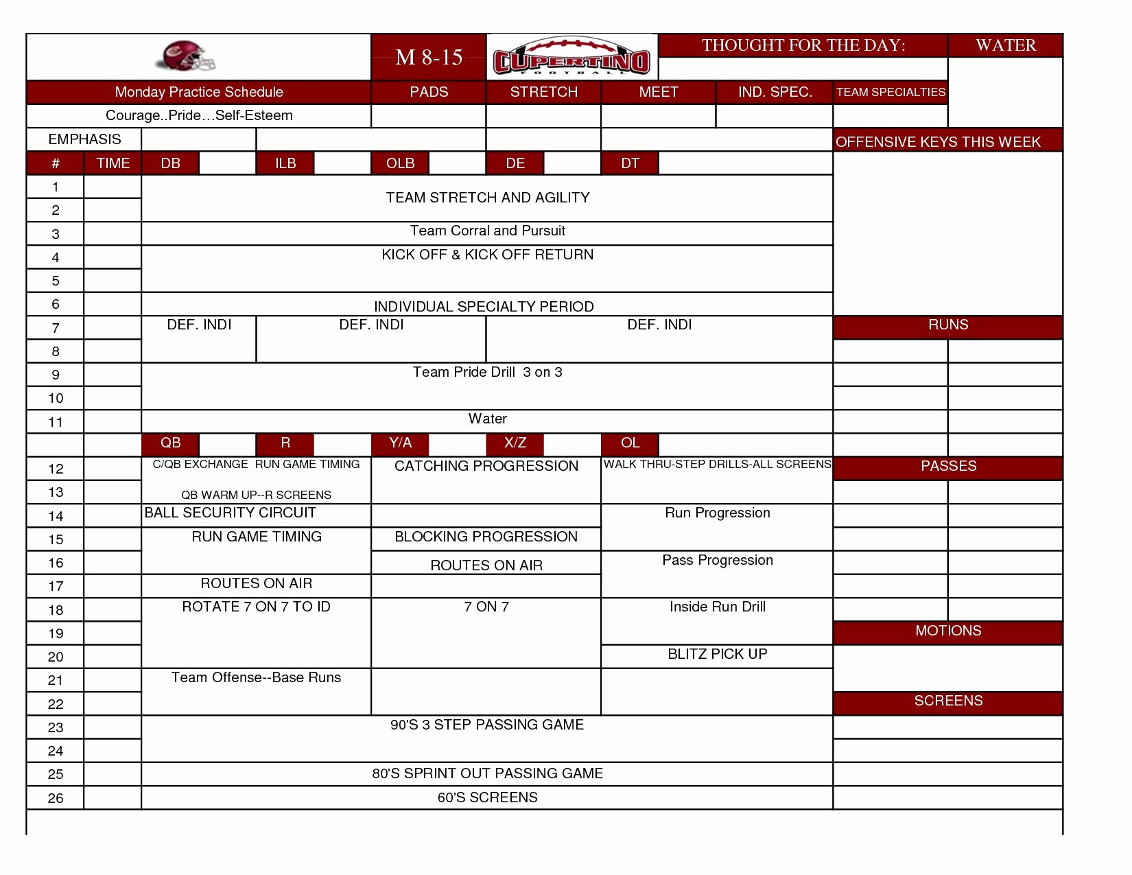 Football Practice Schedule Template Fresh Football Practice Plan Template Fresh Magnificent