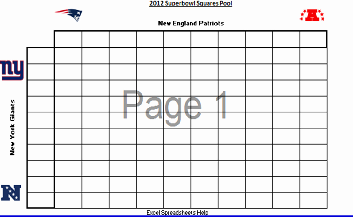 Football Squares Template Excel Awesome Football Squares Spreadsheet