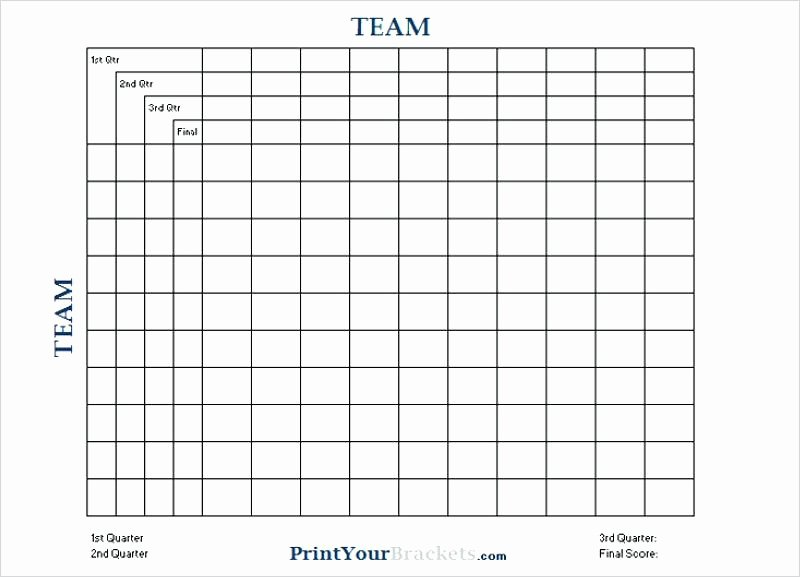 Football Squares Template Excel Lovely Super Bowl Squares Free Printable Football Template