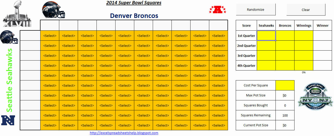 Football Squares Template Excel Luxury 2014 Super Bowl Squares Spreadsheet