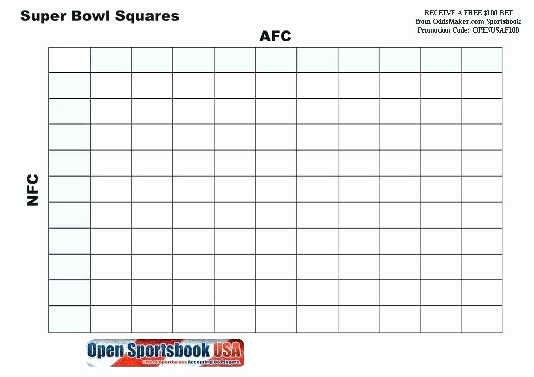 Football Squares Template Excel New Printable Football Pool Sheet Super Bowl Squares Template