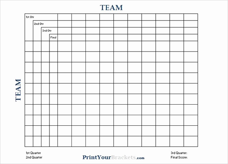 Football Squares Template Excel New Super Bowl Squares Football Pool Template Free Luxury