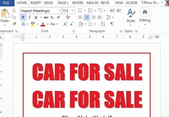 For Sale Template Word New Car for Sale Sign Word Template