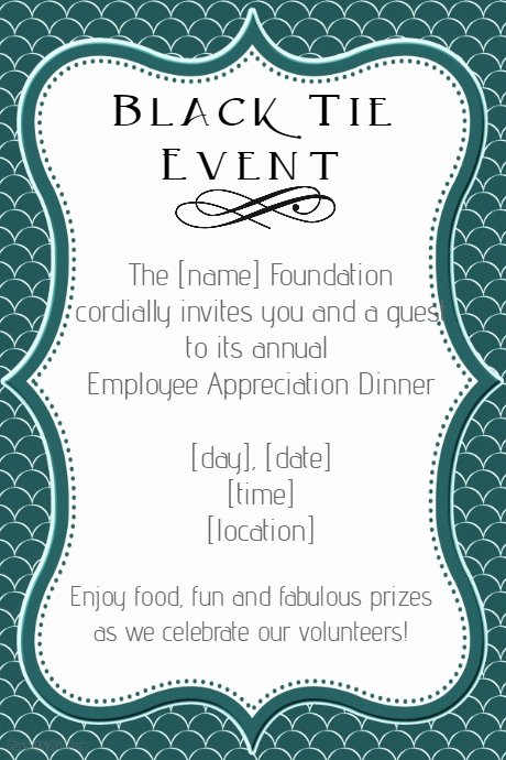 Formal Dinner Invitation Template Awesome formal Black Tie Employee Appreciation Dinner Invitation