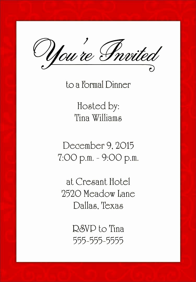 Formal Dinner Invitation Template Awesome formal Dinner Invitation Template