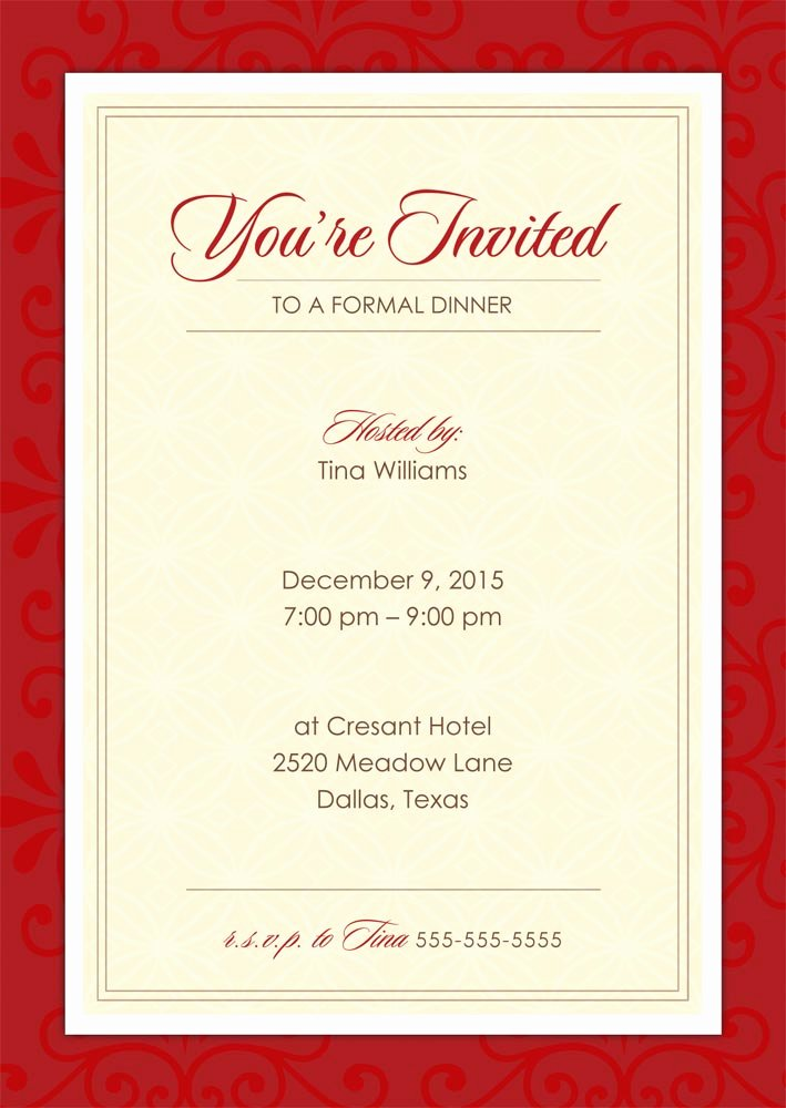 Formal Dinner Invitation Template Lovely formal Dinner Party Holiday Party Invitations From