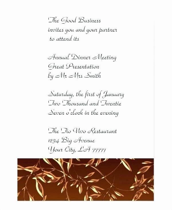 Formal Dinner Invitation Template Luxury formal Dinner Invitation Also formal Pany Dinner
