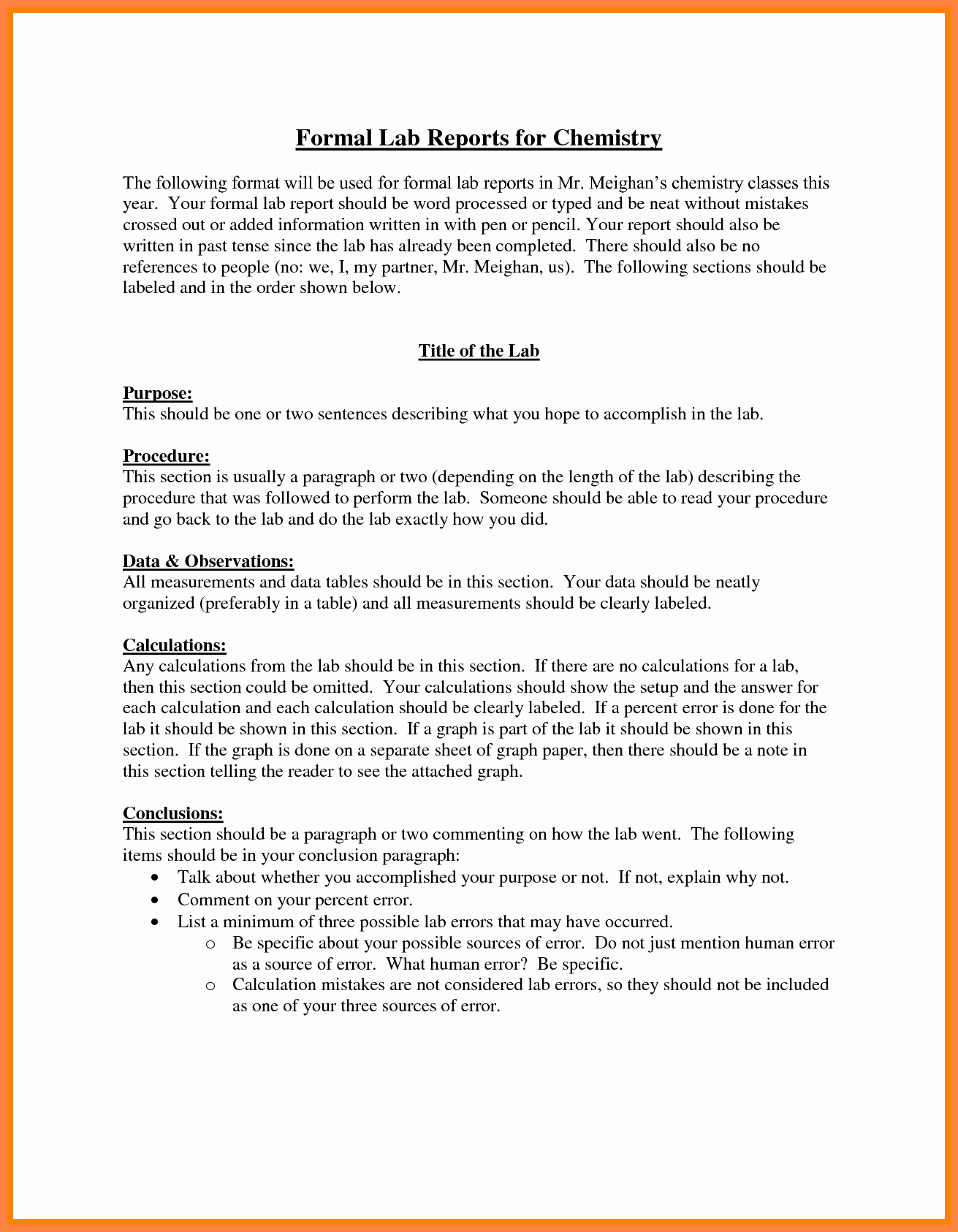 Formal Lab Report Template Awesome 8 formal Lab Report Example