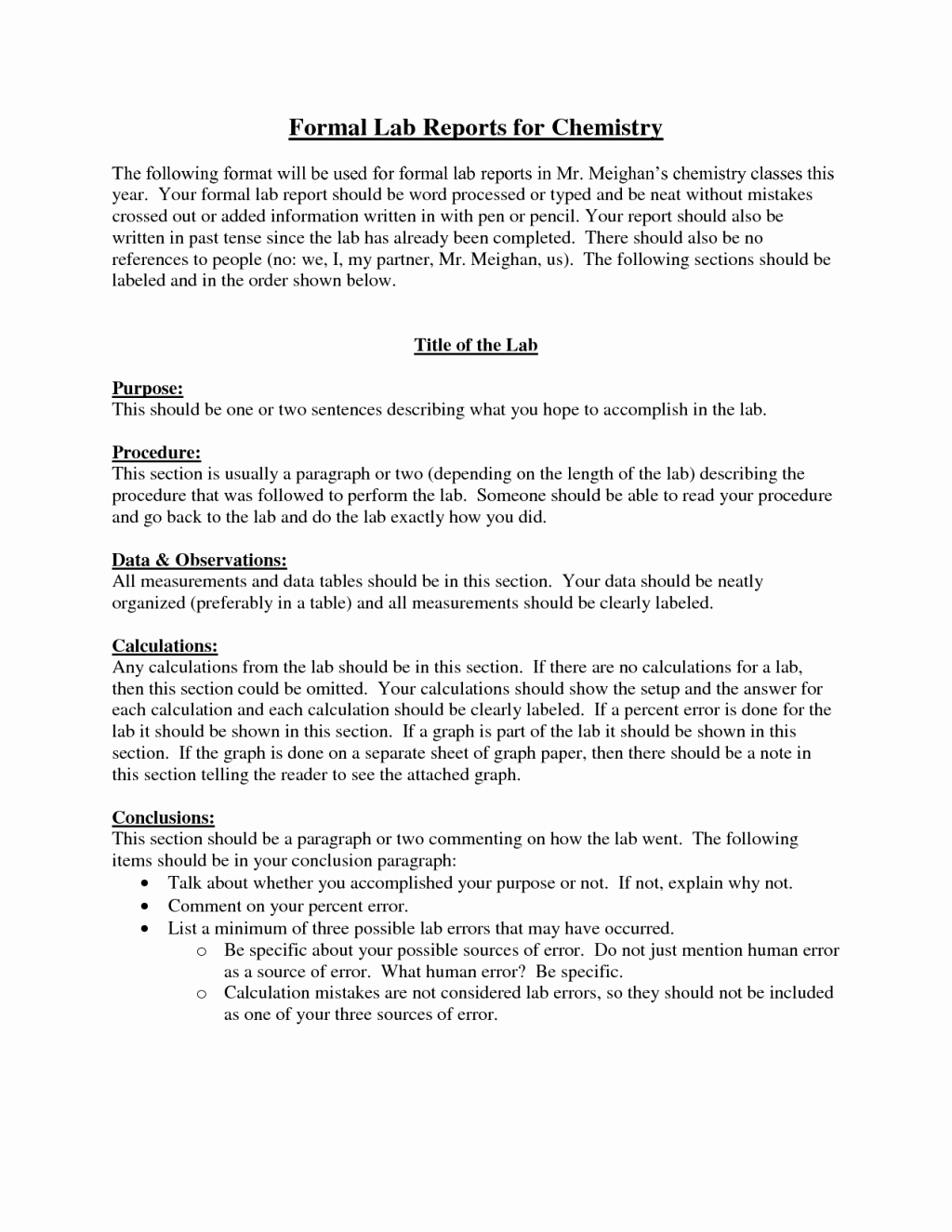 Formal Lab Report Template Beautiful formal Lab Reports for Chemistry 7 formal Lab Report