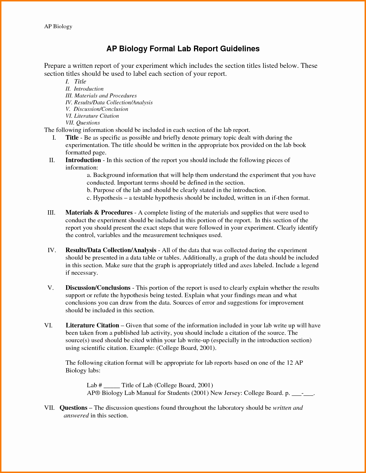 Formal Lab Report Template Fresh Professional Lab Report
