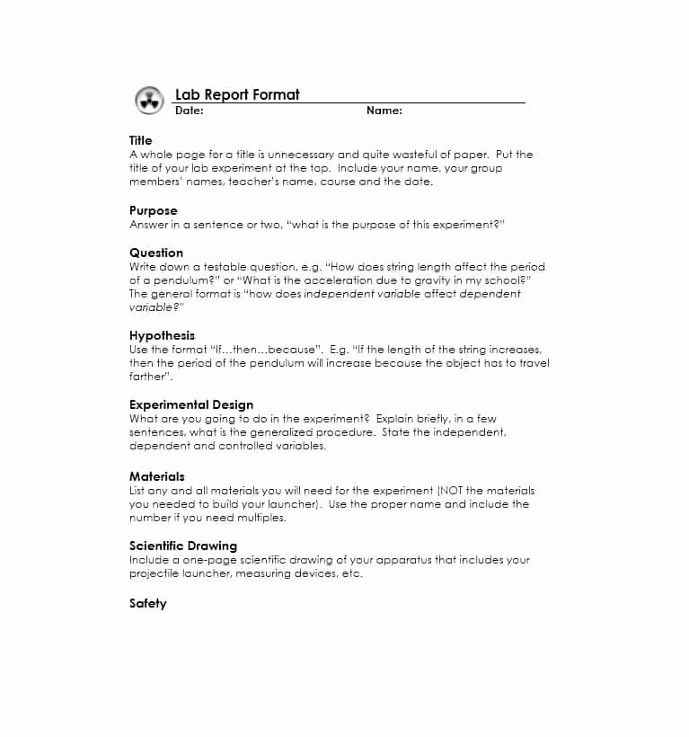 Formal Lab Report Template Luxury 40 Lab Report Templates & format Examples Template Lab