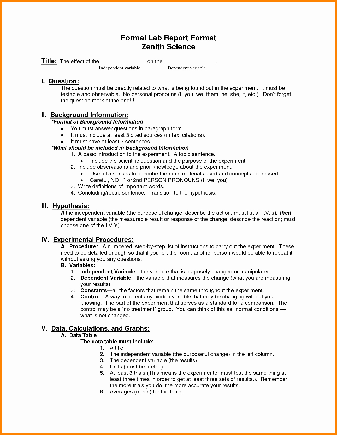 Formal Lab Report Template New 9 Layout Of Lab Report