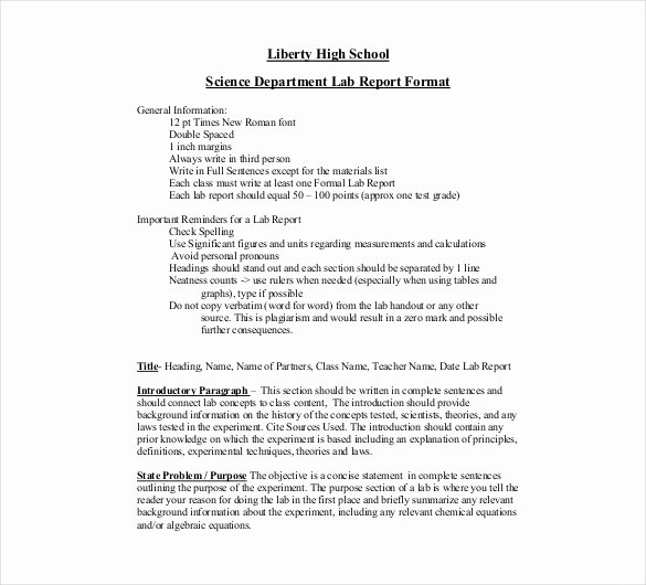 Formal Lab Report Template Unique 15 Laboratory Report Templates Free Pdf Ms Word