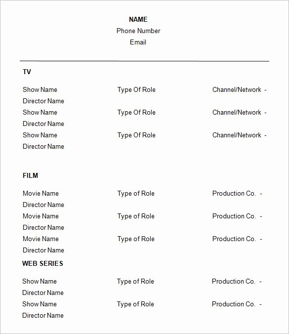 Free Acting Resume Template Awesome 11 Acting Resume Templates Free Samples Examples