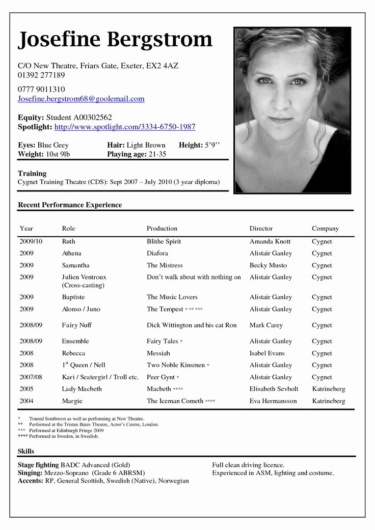 Free Acting Resume Template Beautiful Best 25 Acting Resume Template Ideas On Pinterest