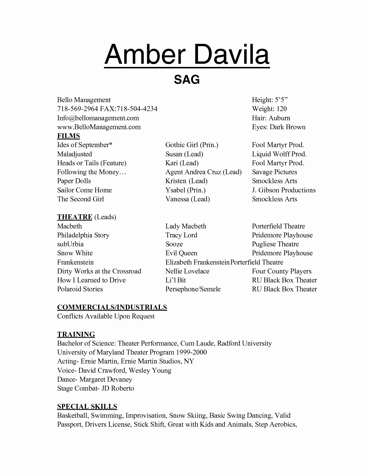 Free Acting Resume Template Beautiful Free Acting Resume Templates Samplebusinessresume