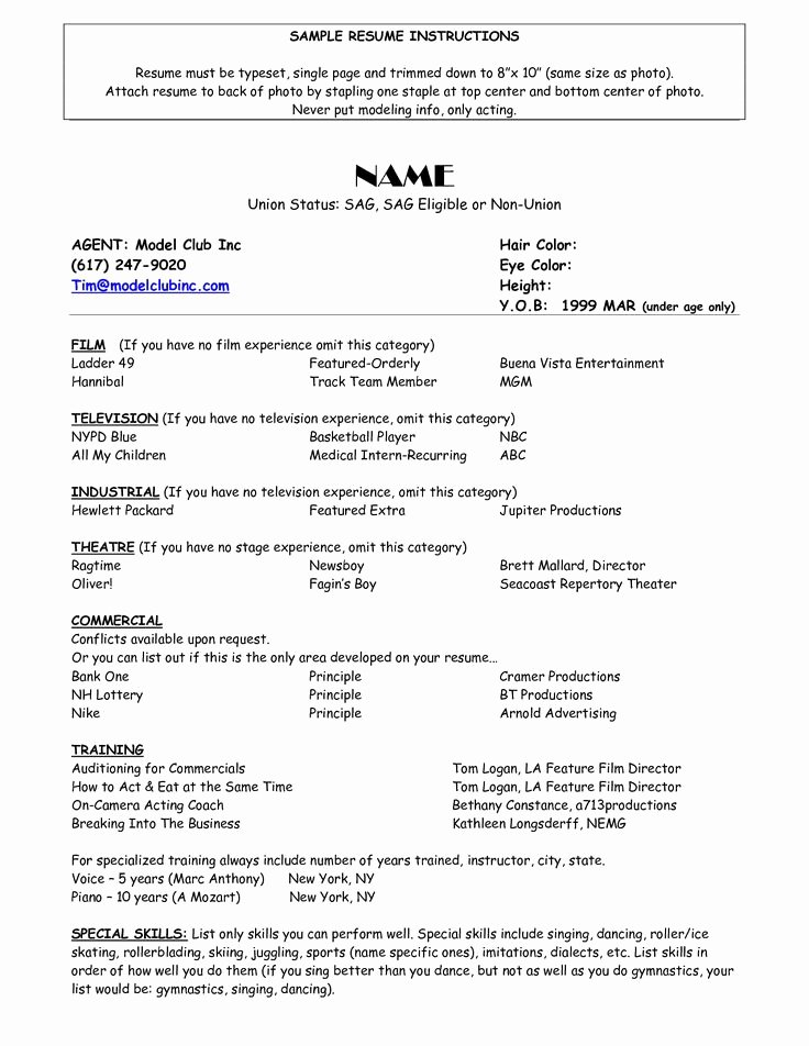 Free Acting Resume Template Fresh Sample Acting Resume Template Umecareer