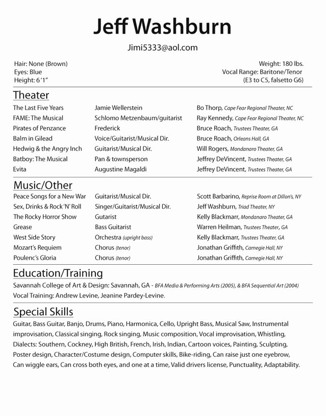 Free Acting Resume Template Inspirational Beginner Acting Resume Best Resume Collection
