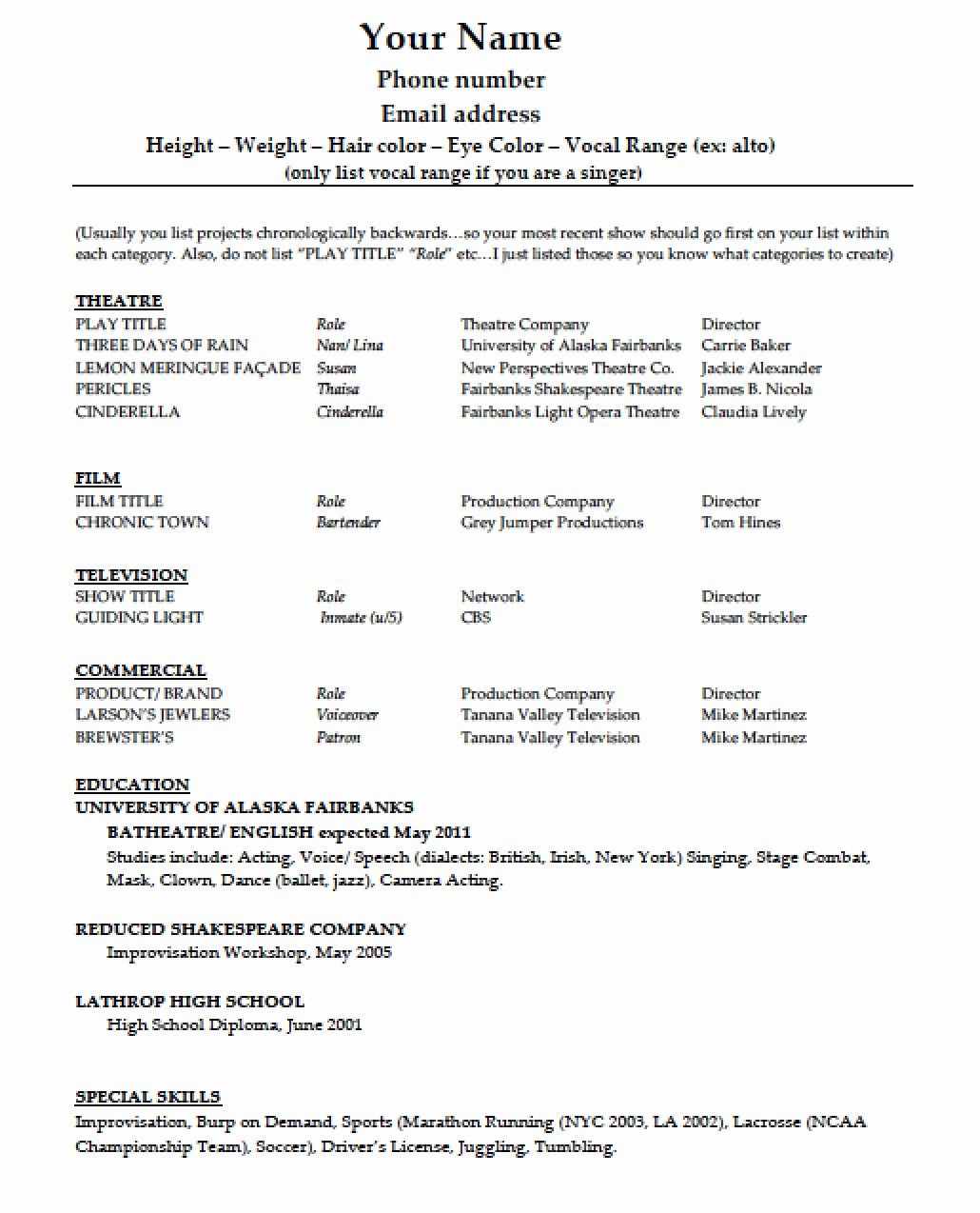 Free Acting Resume Template Inspirational Download Acting Résumé Template Pdf