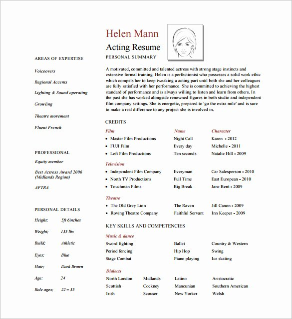 Free Acting Resume Template Lovely Acting Resume Template 7 Free Word Excel Pdf format