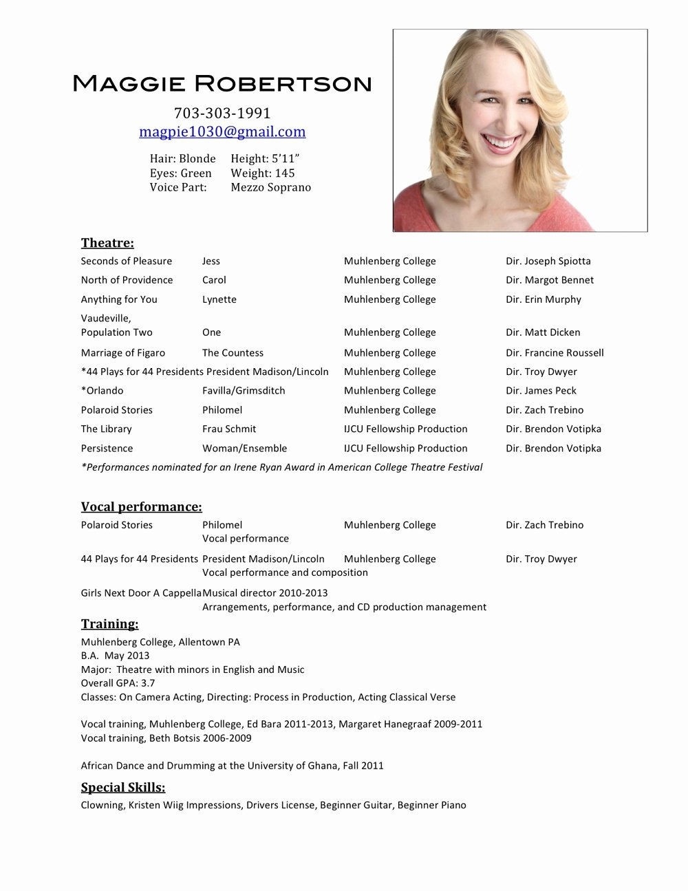Free Acting Resume Template Luxury Actor Resume Template