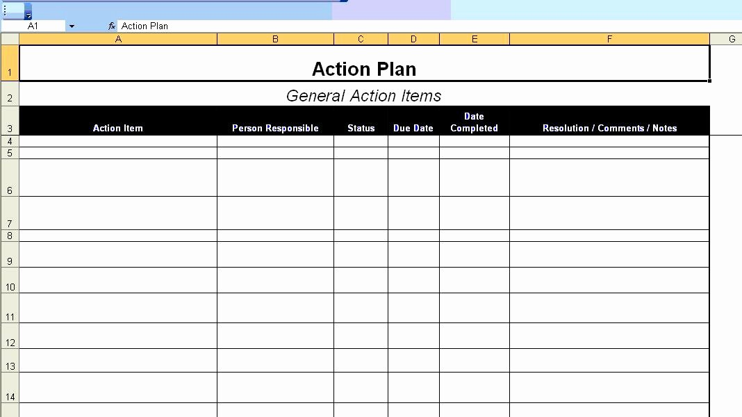 Free Action Plan Template Awesome Excellent Action Plan Template Example In Ms Excel format