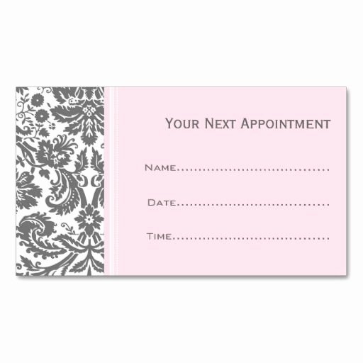 Free Appointment Card Template Best Of Pink Grey Damask Salon Appointment Cards